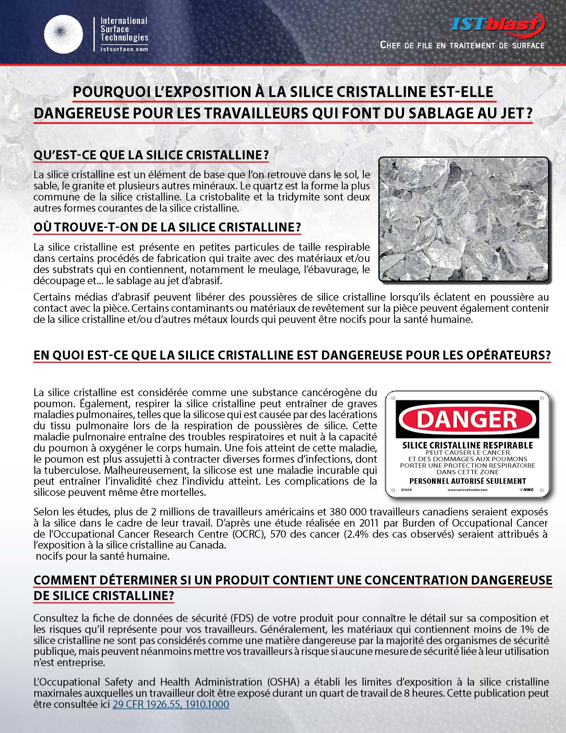 ISTblast - Danger silice cristalline