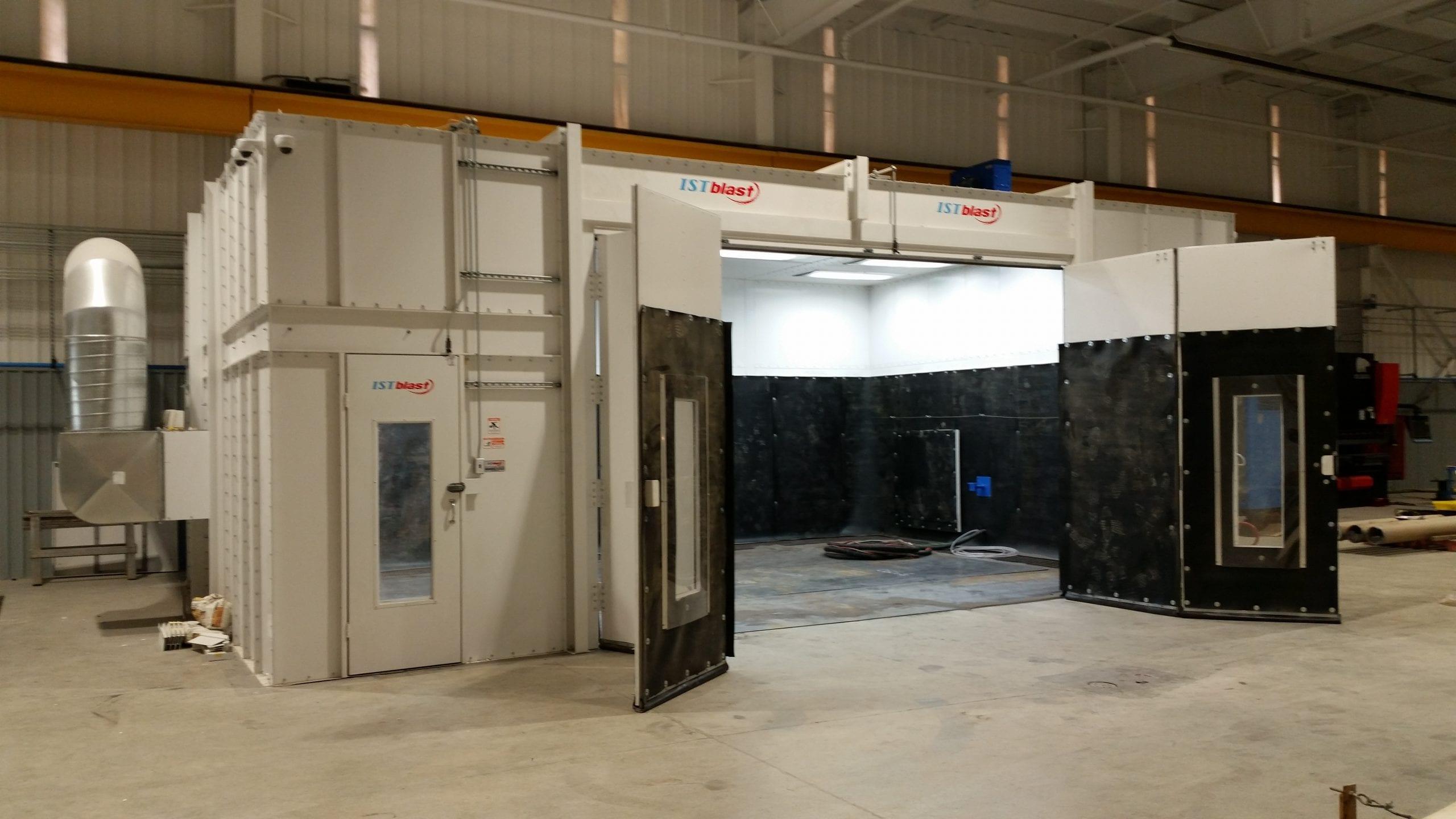 Blast Booth with Bifold Door Open