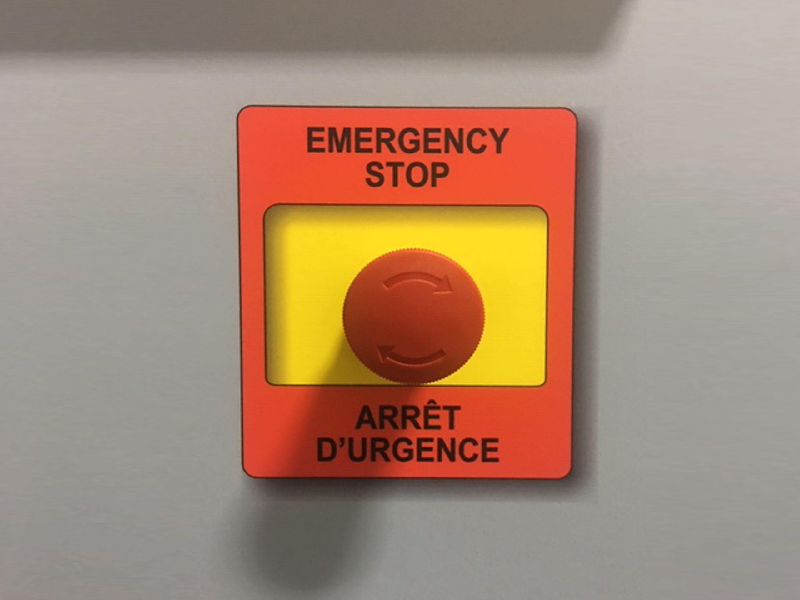 Emergency Stop Button on Sandblast Room Control Panel